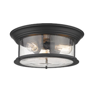 Sonna Matte Black Three-Light Flush Mount with Transparent Seedy Glass