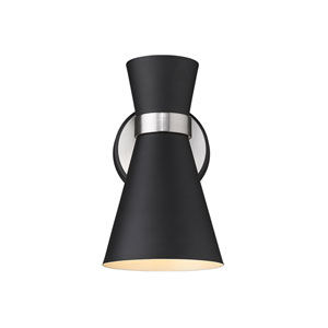 Soriano Matte Black and Brushed Nickel One-Light Wall Sconce