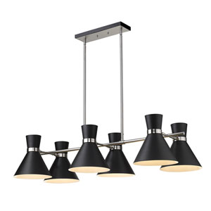 Soriano Matte Black and Brushed Nickel Six-Light Island Chandelier