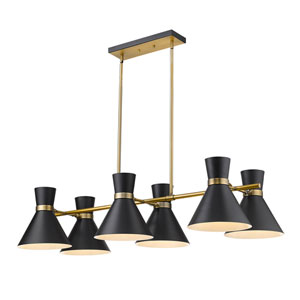 Soriano Matte Black and Heritage Brass Six-Light Island Chandelier