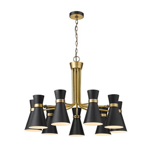Soriano Matte Black and Heritage Brass Nine-Light Chandelier