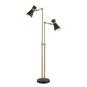 Soriano Matte Black and Heritage Brass Two-Light Floor Lamp