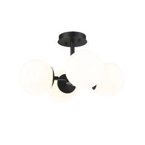 Midnetic Matte Black Four-Light Semi Flush Mount