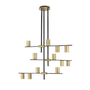 Calumet Matte Black and Olde Brass 12-Light Chandelier