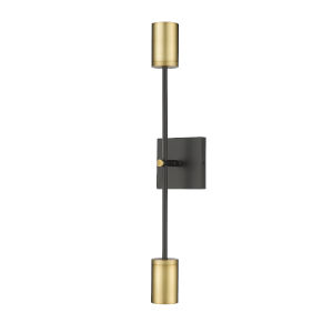 Calumet Matte Black and Olde Brass Two-Light 24-Inch Height Wall Sconce