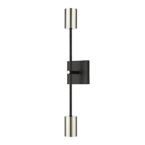 Calumet Mate Black and Polished Nickel Two-Light 24-Inch Height Wall Sconce