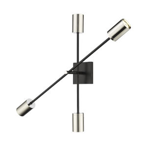 Calumet Mate Black and Polished Nickel Two-Light Wall Sconce