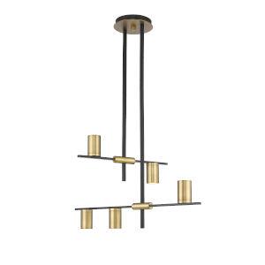 Calumet Matte Black and Olde Brass Five-Light Chandelier