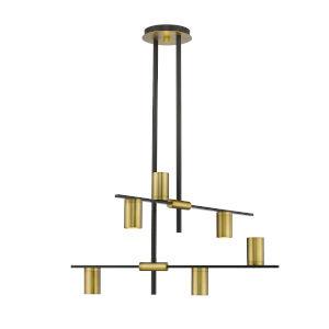 Calumet Matte Black and Olde Brass Six-Light Chandelier