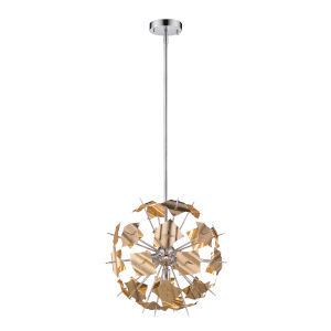 Branam Chrome and Champagne Five-Light Pendant