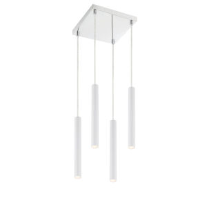 Forest Matte White LED Four-Light Mini Chandeliers