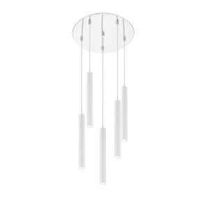 Forest Matte White LED Five-Light Pendant