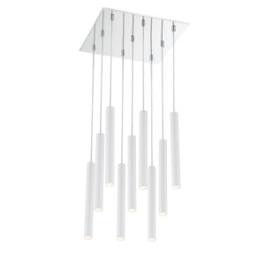 Forest Matte White LED Nine-Light Pendant