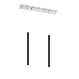 Forest Matte Black LED Two-Light Mini Chandeliers