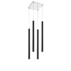Forest Matte Black LED Four-Light Mini Chandeliers