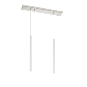 Forest Matte White LED Two-Light Mini Chandeliers