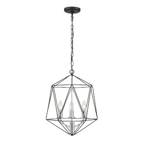 Geo Matte Black and Chrome Three-Light Chandelier