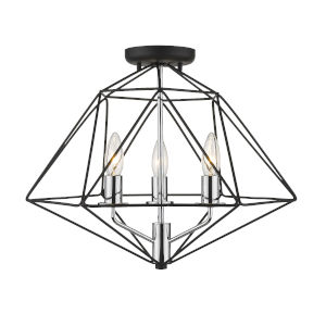 Geo Matte Black and Chrome Three-Light Semi Flush Mount