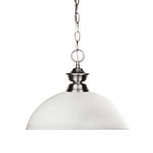 Shark Brushed Nickel One-Light Pendant with Dome Matte Opal Glass