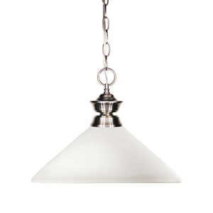 Shark One-Light Brushed Nickel Dome Pendant with Angled Matte Opal Glass Shade