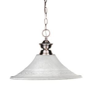 Shark One-Light Brushed Nickel Dome Pendant with Fluted White Mottle Glass Shade