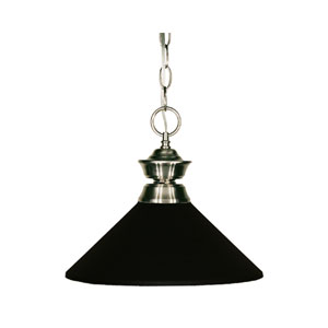 Pendant Lights One-Light Pewter Pendant with Angled Matte Black Metal Shade