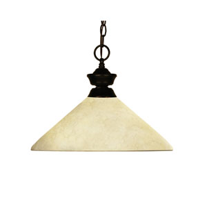 Chance One-Light Bourbon Bronze Dome Pendant with Angled Golden Mottle Glass Shade