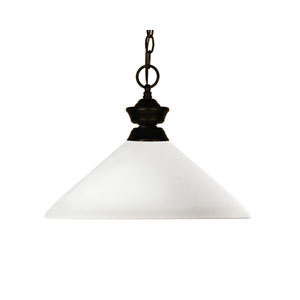 Chance One-Light Aztec Bronze Dome Pendant with Angled Matte Opal Glass Shade