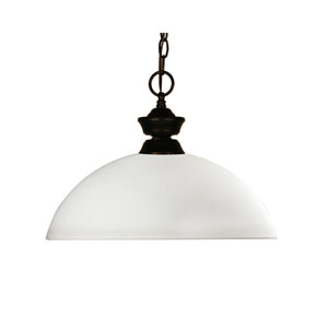 Chance One-Light Bronze Dome Pendant with a Matte Opal Glass Shade