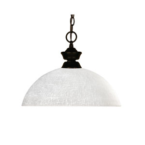 Riviera One-Light Bronze Dome Pendant with White Linen Glass Shade