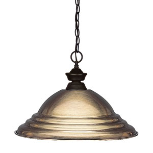 Shark Bronze One-Light Pendant with Stepped Antique Bronze Shade