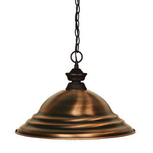 Shark Bronze One-Light Pendant with Stepped Antique Copper Shade