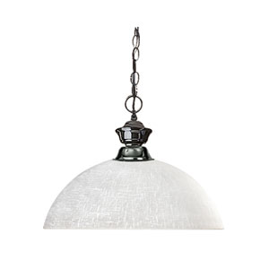 Shark One-Light Gun Metal Dome Pendant with White Linen Glass Shade