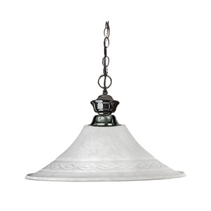Shark One-Light Gun Metal Dome Pendant with Fluted White Mottle Glass Shade