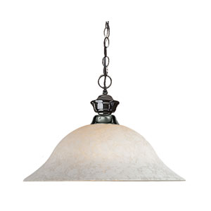 Pendant Lights One-Light Gun Metal Pendant with White Mottle Glass Shade