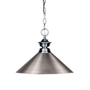 Shark Gun Metal One-Light Pendant with Brushed Nickel Shade
