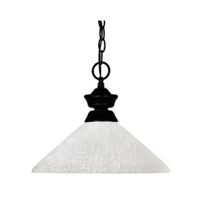 Shark One-Light Matte Black Dome Pendant with Angled White Linen Glass Shade