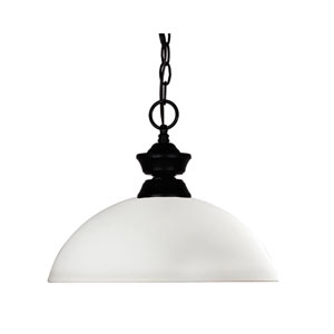 Windsor One-Light Matte Black Dome Pendant with Matte Opal Glass Shade