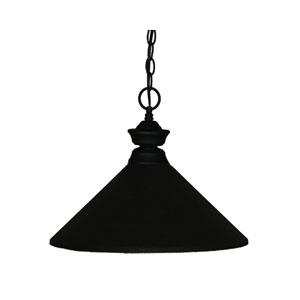 Matte Black One-Light Pendant with Metal Shade
