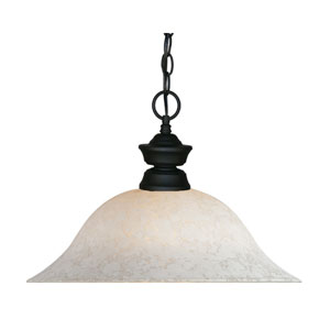 Matte Black One-Light Pendant with White Mottle Glass