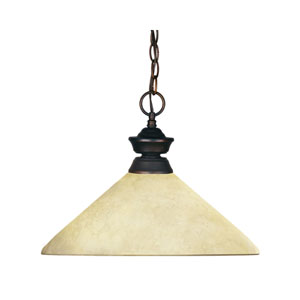 Riviera One-Light Olde Bronze Dome Pendant with Angled Golden Mottle Glass Shade