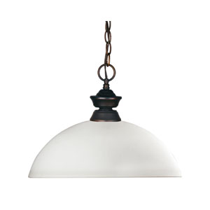 Riviera One-Light Olde Bronze Dome Pendant Matte Opal Glass Shade