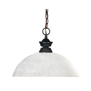 Riviera One-Light Olde Bronze Dome Pendant with White Linen Glass Shade