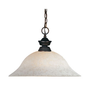 Pendant Lights One-Light Olde Bronze Pendant with White Mottle Glass Shade