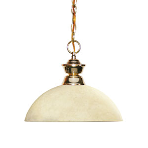 Shark Polished Brass One-Light Pendant with Dome Golden Mottle Glass