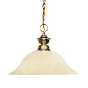 Shark Polished Brass One-Light Pendant with Golden Mottle Glass