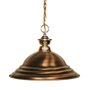 Shark Polished Brass One-Light Pendant with Stepped Antique Copper Shade