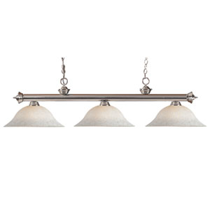 Riviera Brushed Nickel Three-Light Billiard Pendant with White Mottle Glass