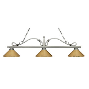 Melrose Antique Silver Three-Light Pendant with Polished Brass Metal Shades