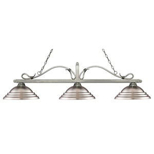 Melrose Antique Silver Three-Light Pendant with Stepped Brushed Nickel Metal Shades